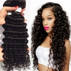 3 Bundles Indian Deep Wave Curly Hair Virgin Human Hair Extensions Weave 100g/pc black 8+8+8 inches
