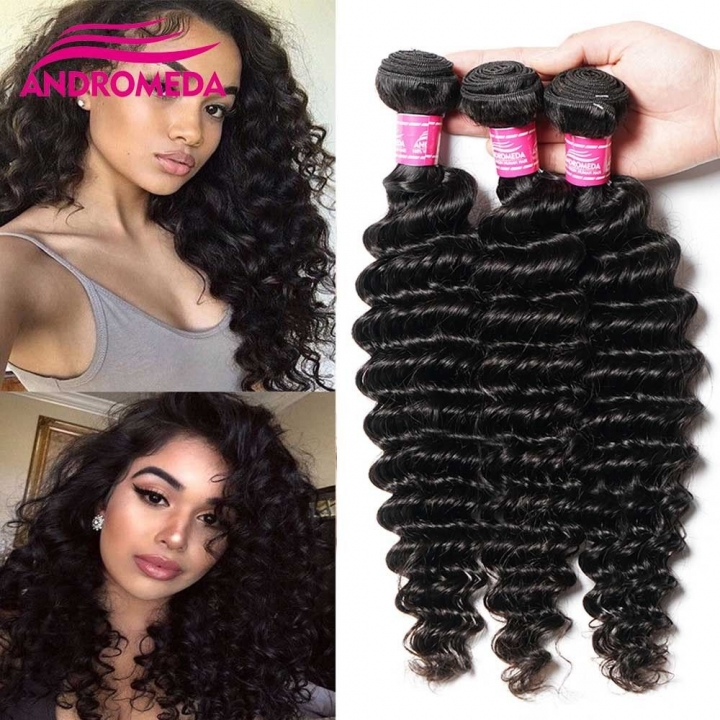3 Bundles Indian Deep Wave Curly Hair Virgin Human Hair Extensions Weave 50g/pc black 8+8+8 inches