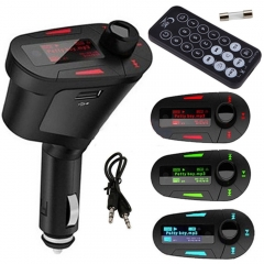 Car Kit MP3 Music Player Wireless FM Transmitter Radio Modulator With USB MMC+ Remote Control green 1.5 inch