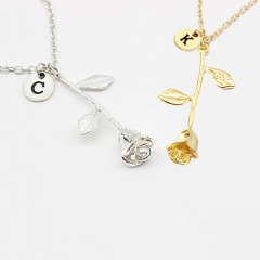 26 Letters Personalized Jewelry Rose Engrave Letter Discs Choker Monogram Flower Necklace Pendant silver A