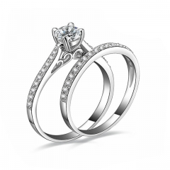 2Pcs/set Charm Lovers Ring Fashion Jewelry Crystal Engagement Wedding Rings For Women Men silver 6