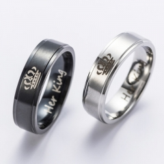 Fashion DIY Couple Jewelry Her King and His Queen Stainless Steel Wedding Rings for Women Men silver His Queen 6
