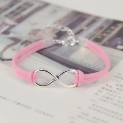 Fashion infinity Rope bracelet Hand-woven Korean Velvet bracelet Fashion Wrap Leather Jewelry pink one size