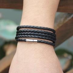 Latest Popular 5 Laps Leather Bracelet, Men Charm Vintage Black Bracelet 8 Color Choose 1 one size