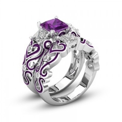 2pcs/set Wedding Zircon Rings High Quality Stainless Steel Engagement Couple Rings purple 5