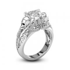 Unique Skeleton Ring Blue Zircon Women's Wedding Ring Punk Jewelry white 6