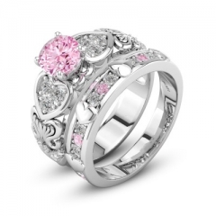 Luxury Fashion Zirconia Hot Sale Wedding Engagement Ring For Women Jewelry Gifts Double Rings pink 6