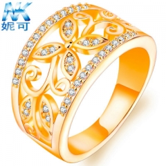 Fashion Four leaf Clover Flower Wedding Ring rose gold/gold/silver Diamond ring for women gold 6