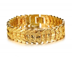NEW Elegant Mens Plated Gold Chain Hand Chain Bracelets Gold Color Fashion Jewelry Bracelets Gift gold one size