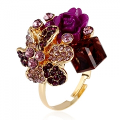 Unique Crystal Gem Opening Ring Personalized Fashion Anti-Allergic Resin Flower Ring purple one size
