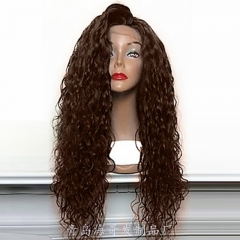 Curly Wig Brazilian Lace Front Human Hair Wigs With Baby Hair Lace Front Wig Remy Hairs Dark brown as the picture