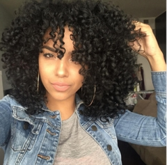 Hair Cap+High Temperature Fiber Short Natural Kinky Curly Fluffy Synthetic Wig For African Women black 16 inch