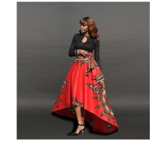 Fashion Lrregular Long Skirt Womens Vintage Floral Print african Retro Maxi Skirt Ladies Clothing red S