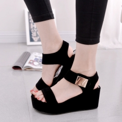 Fashion  Korean muffin thick crust slope with high-heeled shoes round head sandals flat shoes black 35
