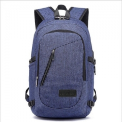 Backpack Anti Theft Password Locks Man USB Charging Laptop Backpacks Whit Headphone Plug Royal blue A one side