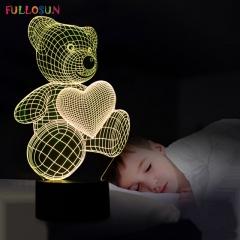 The Cartoon Cute Heart Bear Shape LED Lamp 3D Baby Night Light seven color 21*15*6cm 3V