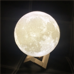 Novelty 3D Full Moon Lamp LED Night Light USB Rechargeable Color Changing Desk Table Light white 8 cm in diameter 5V