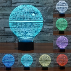 Star Wars Death star 3D LED Night Light Touch Switch Table Lamp USB Colorful LED Lighting black based touch sensor 0-5W