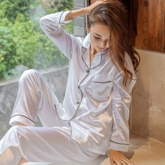 Fashion ladies simple cardigan high quality simulation silk long sleeve large size pajamas white L
