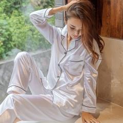 Fashion ladies simple cardigan high quality simulation silk long sleeve large size pajamas white XL