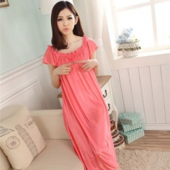 Women's loose Siamese Skirt sweet Girl Ice silk Nightdress Comfortable Indoor Clothing Sleepwear watermelon red average size