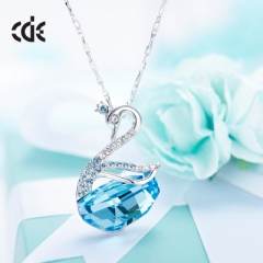 Cdyle Crystals From Swarovski Necklace Women Pendants S925 Sterling Silver Jewelry Swan Necklaces blue one size