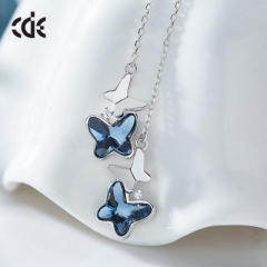 Crystals From Swarovski Women Earrings Blue Butterfly Shaped S925 Sterling Silver Jewelry Rhinestone blue one size