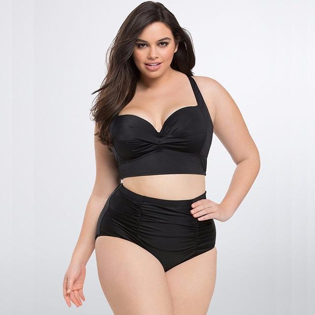 High Waist Large Size Black Sexy Bikini Ladies Split Swimwear Female Beach Bathing Suit black xxxl