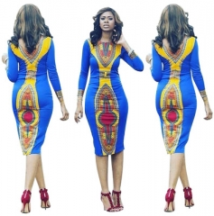 African Totem Long Sleeve Printed Skirt Round Collar Hip Sexy Dress s as picture
