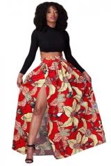 Maxi Skirt Women High Waist Vintage Long Skirt Elastic African Print Slim Pleated Women Skirts red s