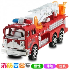 Simulation Fire Trucks Platform Fire Engine Ladder Model Alloy Car Refined Metal Fire Truck Toys as picture 32*9.5*13cm