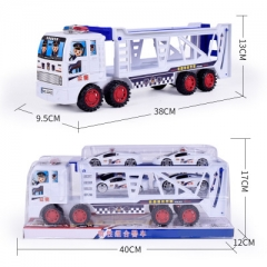 Double Layer Large Brand New Inertial Toy Truck Trailer Belt 4pcs Mini Car Police Toy Car white 38*9.5*13 cm