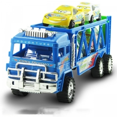 Colorful Inertia Container Trailer Loading Truck Model Car Miniature Scale Machine Kids Toy Gift blue 36*9.5*12 cm