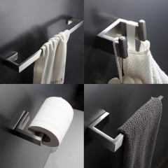 304 Stainless Steel Bathroom Accessories Towel Bar, Robe Hook, Paper Holder Bath Hardware Sets silvery as picture
