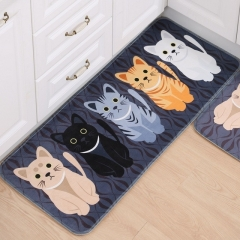 1Pcs Floor Mats Cute Animal Print Bathroom Kitchen Carpet House Doormats Living Room Anti-Slip Rug Cute Cat Black 120*50 cm