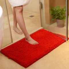 1PC Microfiber Bath Mat Soft Comfortable Material Anti-Slip Water Absorbing Bath Rugs Mats Red 70*45 cm