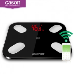 GASON S4 LED Bathroom Scales Floor Scientific Smart Electronic Weight Balance Bluetooth APP Android black as picture