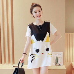 cartoon printed Short sleeve cat Pregnant dress White face cat M