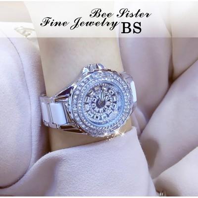 New fashion Brand BS hot sell women bracelet diamond Quartz Watch Luxury rhinestone Wrist Watch silver