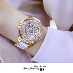 New fashion Brand BS hot sell women bracelet diamond Quartz Watch Luxury rhinestone Wrist Watch gold
