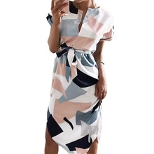 Geometric Print Dress Fashion Women V-Neck Short Sleeve Summer Dresses Casual Sashes Robe Dress S as picture