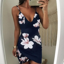 Sexy Womens Sleeveless Dress Floral Strappy V Neck Evening Party Clubwear Short Mini Dress Fashion S Royal blue