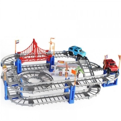 DIY Variety 3D Electric Rail Speed Car Train Model Color Track Racing Car Fun Assemble Toy Gray track one size