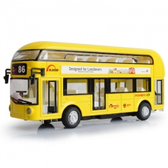 Double Bus Toy Children Die-cast Pull Back Acousto-optic Open Door Sound Light Bus Model Car yellow one size