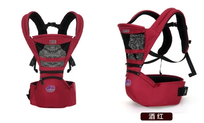 3-36 months ergonomic baby carrier backpack carrier Waist stool triangle labor-saving design Red wine one size