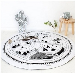 Round Carpet Game Pad Kids Playmats Baby Crawling Blanket Gym Play Mat Children Indoor Decoration as picture diameter 97cm