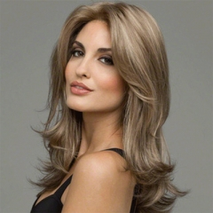 European and American fashion wig female long hair curly brown synthetic color 58 cm Heat Resistant brown like picture