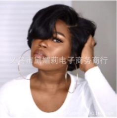 Black Short Hair Curly Wigs for Women Natural Blend Hair Wig Synthetic Fluffy Hair black like picture