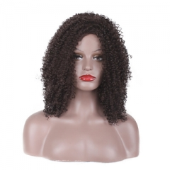 Curly Lace Front Wigs Afro Wig for African Women Synthetic Hair Black Short wig for Women black 35cm-40cm