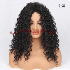 Lace Front Wig 1B# Black 20 Inch Afro Kinky Long Curly Hair Black Wigs For African American Women 1B# 50cm